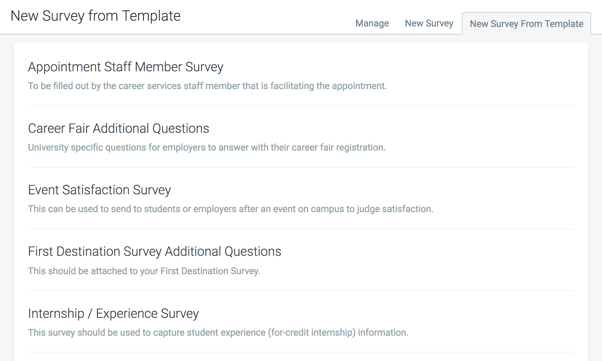 about survey templates handshake help center