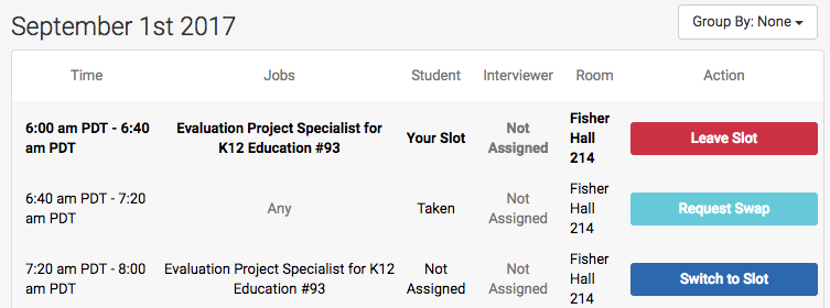 Interview Schedules: Applications and Taking Slots – Handshake Help