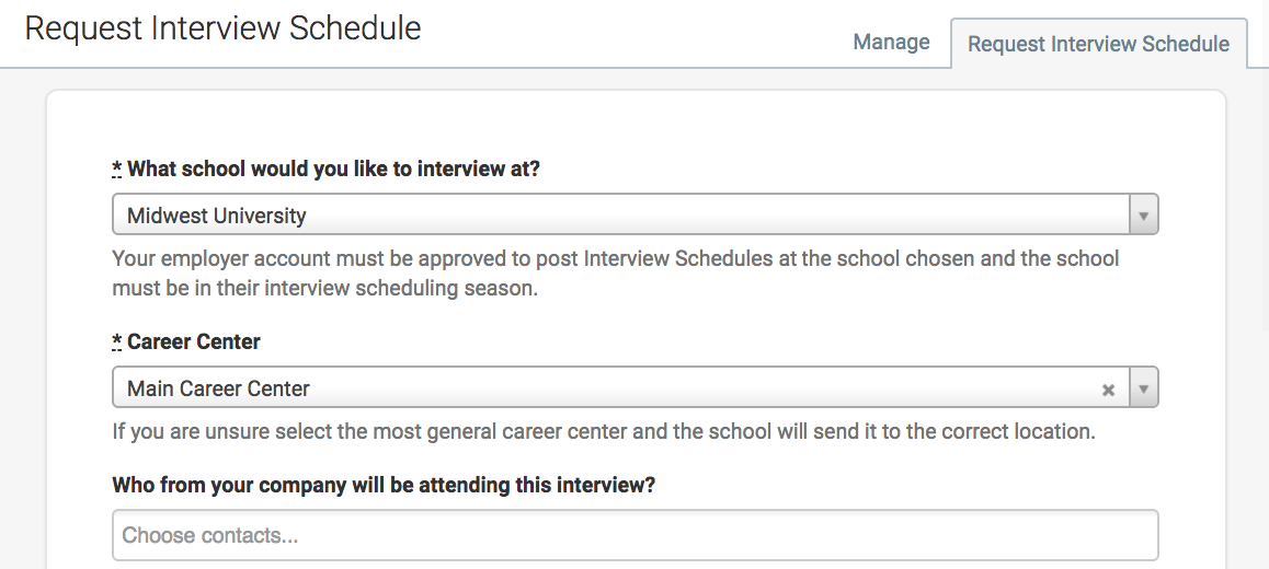 how to post an interview schedule to a school handshake help center