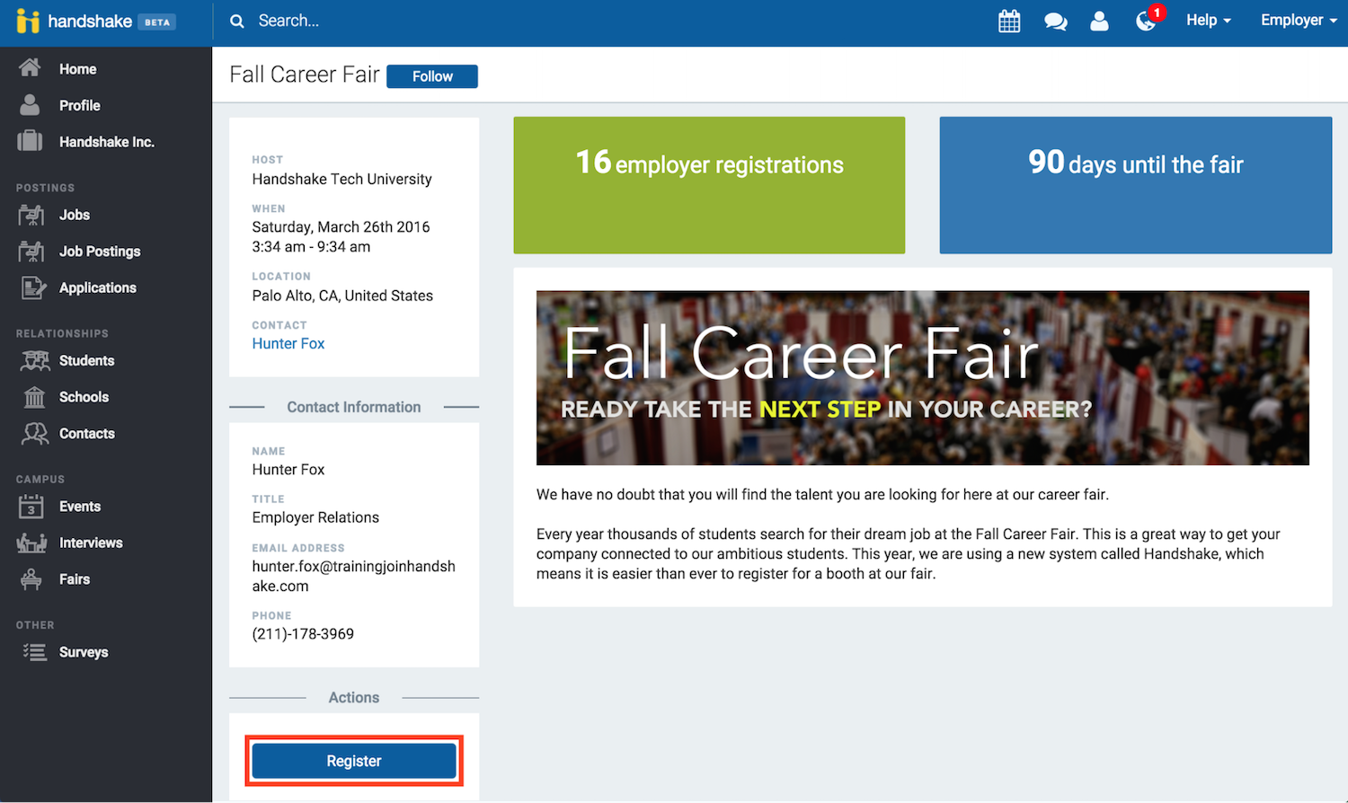 how do i register for a career fair handshake once you login you will be taken to the career fair registration page