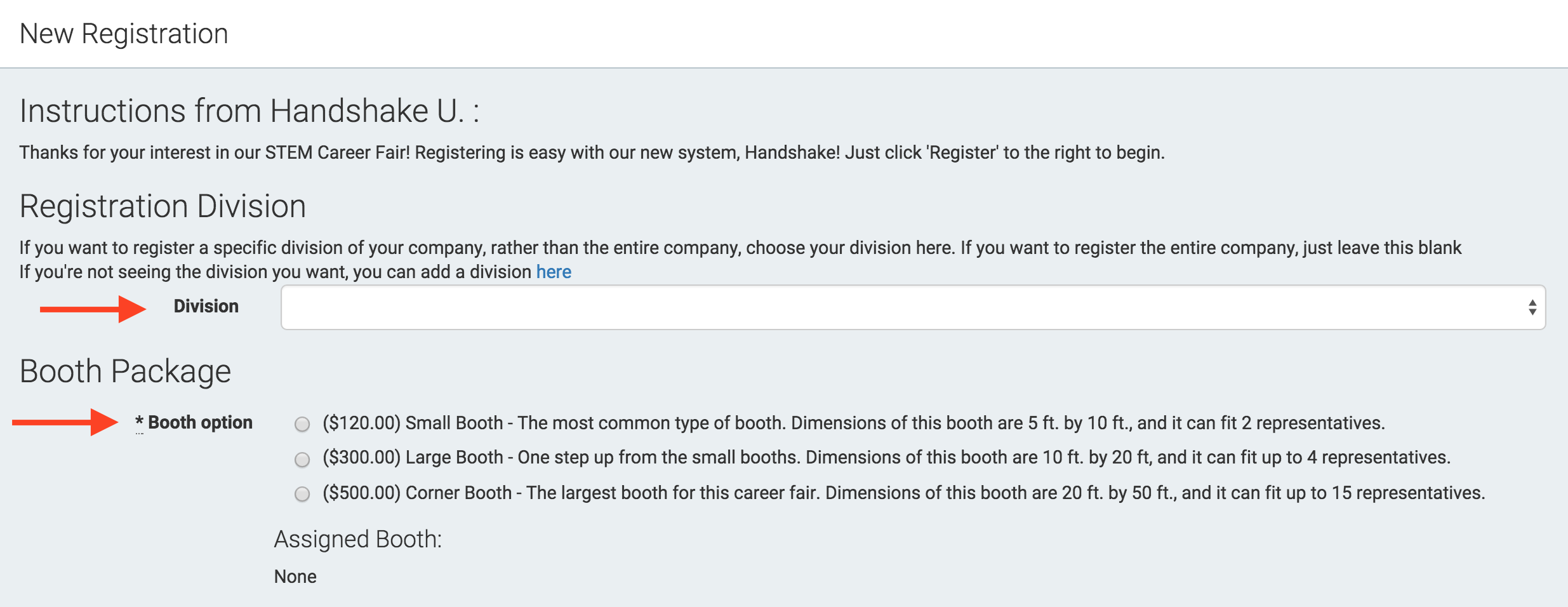 how do i register for a career fair handshake note booth options are configured in the career fair setup section