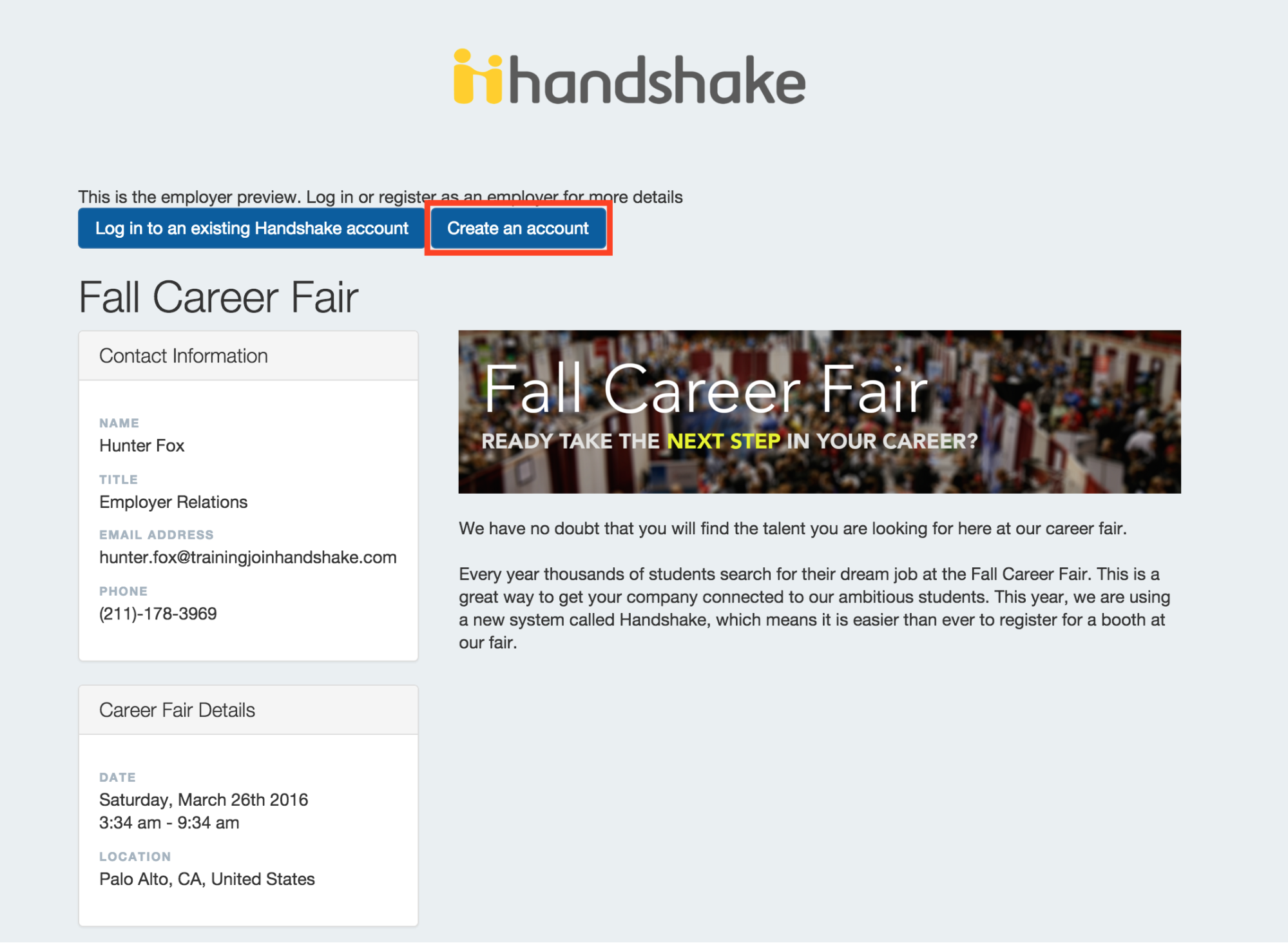 how do i register for a career fair handshake career fair you will see a page like this