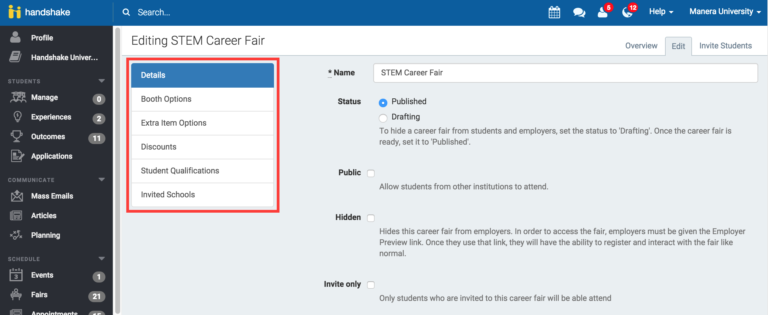 how do i create a career fair handshake select booth options and then click add booth option in the upper right hand corner here you can define one or more booth types available to employers