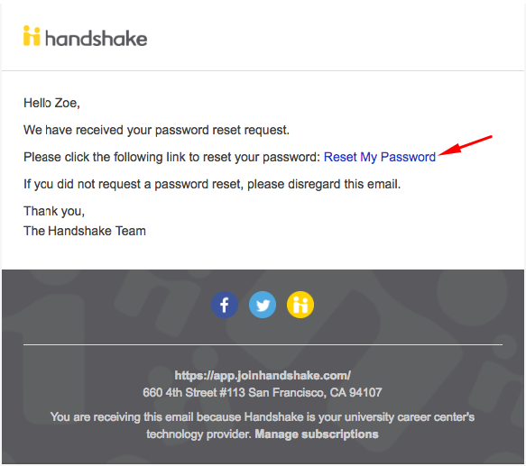 How do I reset my Handshake password? – Handshake Help Center