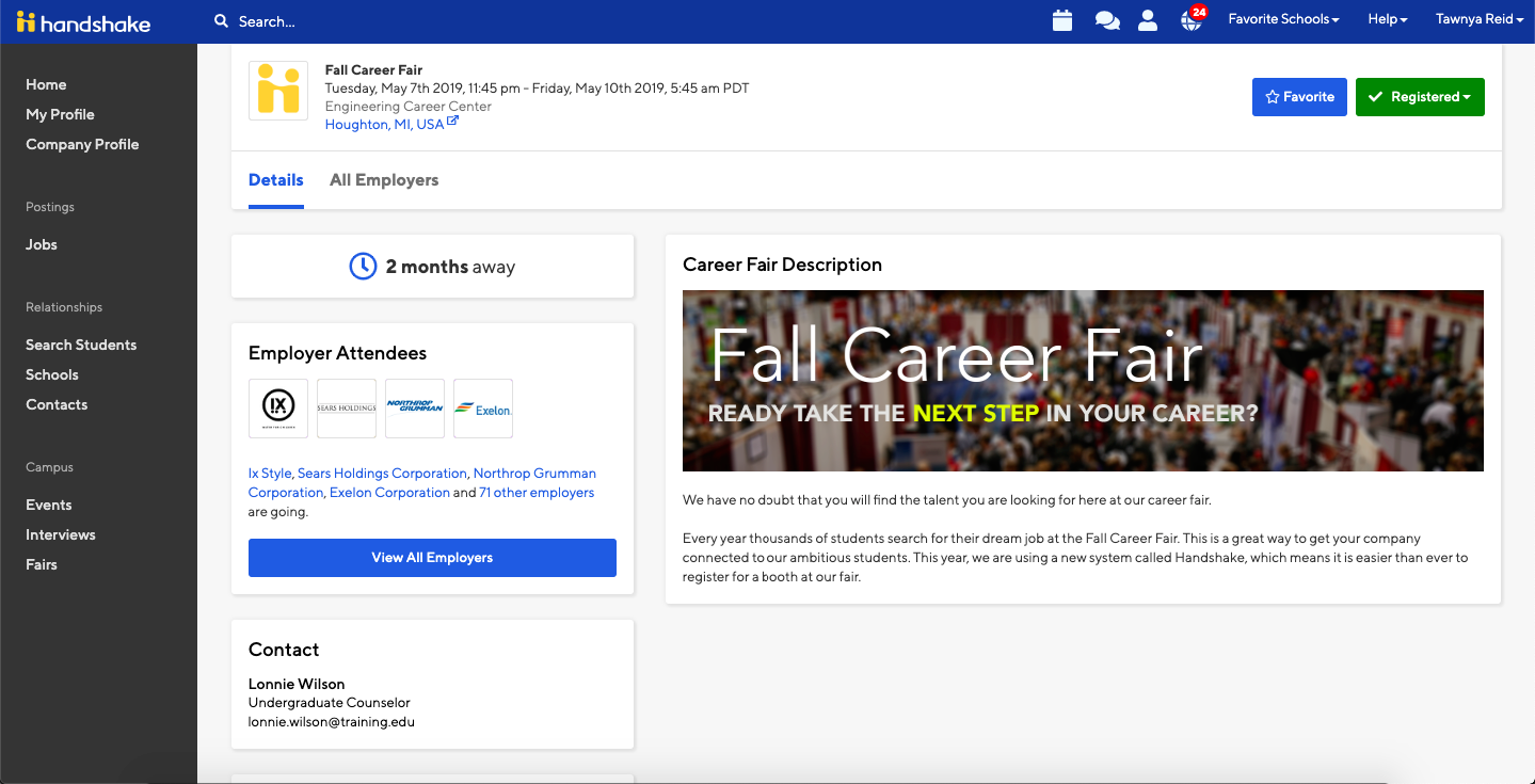 How to Search for a Career Fair – Handshake Help Center