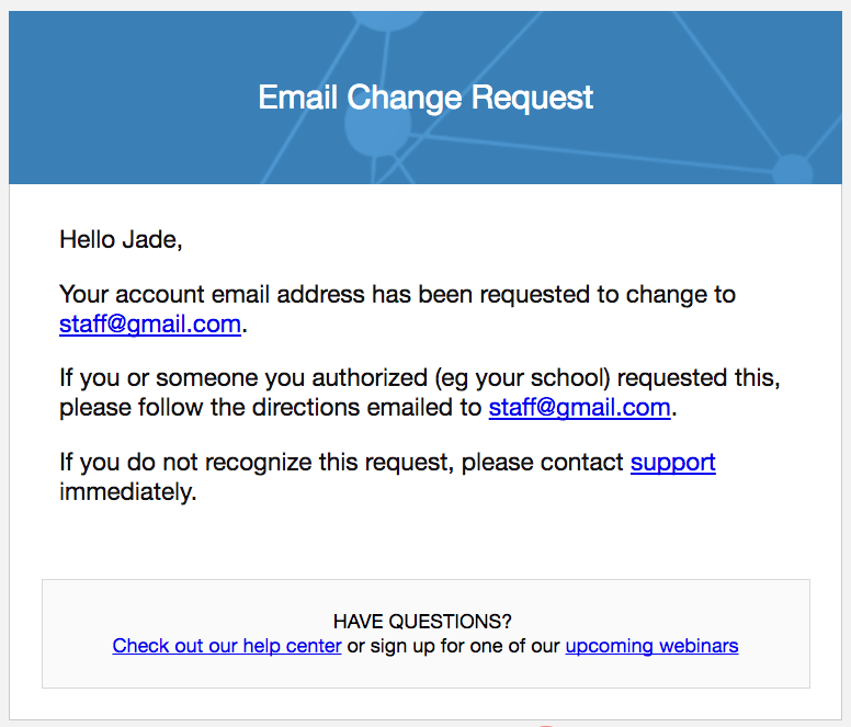changing email address