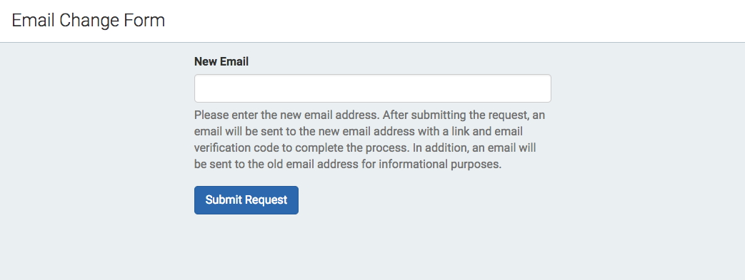 Career Services User Settings: Email Change Request Process